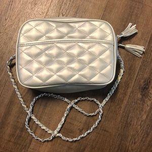 Silver Tassel Purse with Zipper & Chain strap